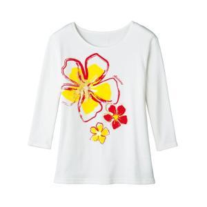 フラダンスTシャツ フラトップス 七分袖 TK2838-3267 手描き風フラワー ハワイアン 発表...