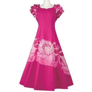 フラダンスドレス ハワイアン ロングドレス ムームー ピンク系 OP272-3043 フラダンス衣装...