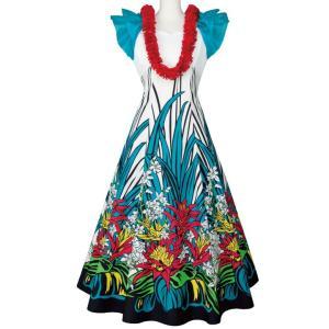 フラダンス ロングドレス ハワイアン フラワンピース ブルー系 OP369-1-3414