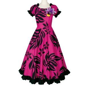 フラダンス ワンピースドレス リーフプリント ピンク系 OP375-3457 ハワイアン ドレス フ...