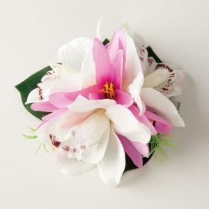 ハワイアン コサージュ ヘアクリップ 白×ピンク GD240-2971 レディースアクセサリー 花飾り 南国 ヘアピン 浴衣 avivare