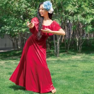 1eb1fefc9bea1 フラダンス衣装 ムームー フラワンピース nobleシリーズ ベロア胸元フリルドレス レッド OP398-1-3500 ハワイアンドレス