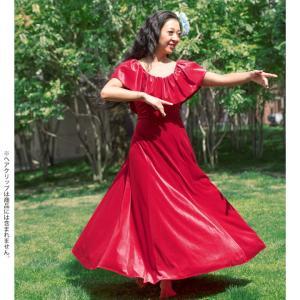フラダンス衣装 ムームー フラワンピース nobleシリーズ ベロア胸元フリルドレス レッド OP398-3500 ハワイアンドレス|avivare|03