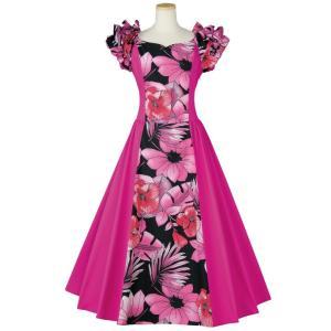 フラダンス衣装 プリント縦切替ドレス OP419-3525 ステージ衣装 ムームー