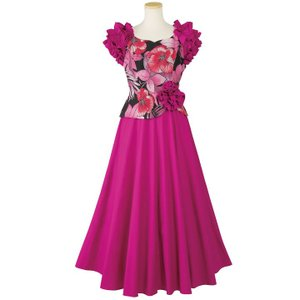 45dbf1e0cb82c フラダンス ドレス ムームー ワンピース コサージュ付配色ドレス OP292-3-3526 衣装 フェスティバル ハワイアンドレス