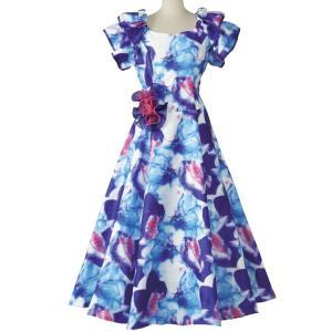 フラダンス衣装 フラドレス フラワープリント OP431-3552 ステージ衣装 発表会 ブルー系