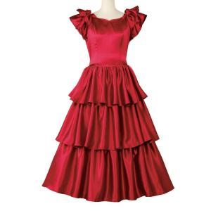 在庫限りセール フラダンス衣装 フラドレス シャンタン ワインレッド フリル OP430-90867...