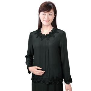 レディースブラウス シルク100%タック使いブラウス TSS419-1-8959 絹 ブラウス 黒 ブラック 長袖 レース レディース ミセス 婦人服 avivare
