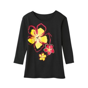 在庫限りセール 手描き風フラワーTシャツ(黒) TK2838-3267 ハワイアン 発表会 フラダン...