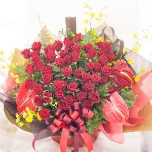 60本 バラのフラワーアレンジメント 生花 送料無料 還暦祝い/結婚記念日/誕生日/お祝い/プレゼント/贈り物