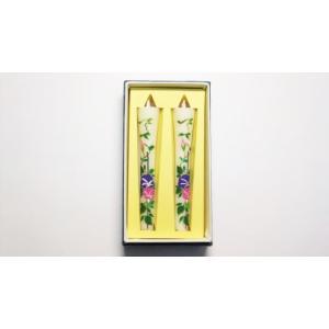 絵ろうそく7月のお花朝顔「アサガオ」。手書き絵ローソク2本入。仏壇用・インテリア用 awaji-baikundou