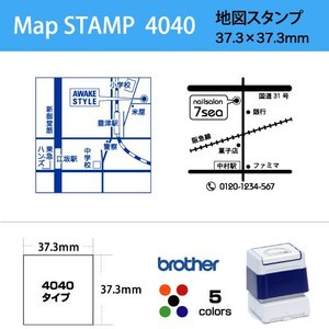 地図 スタンプ 37.3×37.3mm / ブラザー4040タイプ brother stamp スタンプ オーダー オリジナル 作成|awake