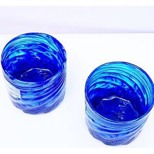 琉球ガラス:コバルトモールロックグラス(全2色):源河源吉|awamori-zizake