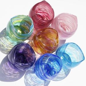 琉球ガラス:美海ハート型たるグラス(全7色):源河源吉【引き出物、結婚、内祝い、誕生祝い、出産祝い、泡盛】|awamori-zizake