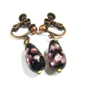 イヤリング ピンク雫型ほたるガラスイアリング  ほたる石、ほたるガラス、ほたる玉、ホタルガラス、ホタル石、ホタル玉  ラッピング無料  母の日イベン|awamori-zizake