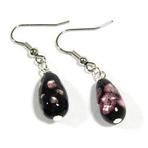 ピアス ピンク雫型ほたるガラスピアス  ほたる石、ほたるガラス、ほたる玉、ホタルガラス、ホタル石、ホタル玉|awamori-zizake