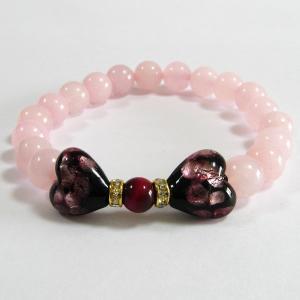 ほたる玉 ブレスレット ピンクハートのリボン:パワーストーンで運気アップ サイズ14cm/16cm ほたる石、ほたるガラス、ほたる玉、ホタルガラス、ホ awamori-zizake