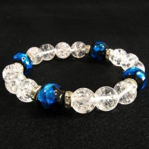 ほたる玉ブレスレット ブルーほたる(16mm玉)とクラック水晶:パワーストーンで運気アップ|クラック水晶| サイズ16cm/18cm ほたる石、ほた|awamori-zizake