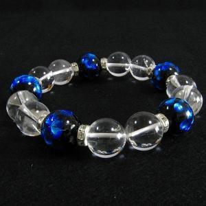ほたる玉ブレスレット ブルーほたる(16mm玉×5)とクリスタル水晶:パワーストーンで運気アップ|水晶| サイズ18cm/20cm ほたる石、ほたる|awamori-zizake