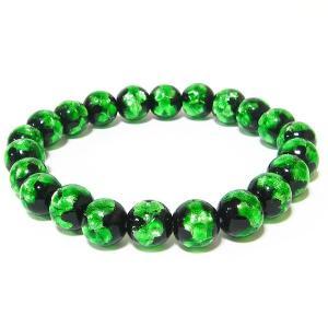 10mm玉使用 グリーンのほたる玉ブレスレット サイズ14cm/16cm/18cm ほたる石、ほたるガラス、ほたる玉、ホタルガラス、ホタル石、ホタル awamori-zizake