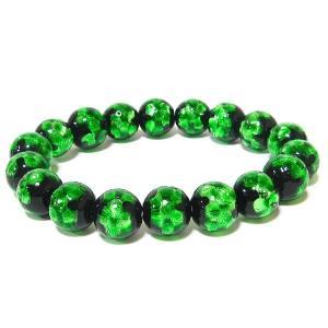 12mm玉使用 グリーンのほたる玉ブレスレット サイズ14cm/16cm/18cm ほたる石、ほたるガラス、ほたる玉、ホタルガラス、ホタル石、ホタル awamori-zizake