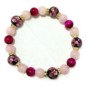 ほたる玉ブレスレット ピンクほたる&ローズクォーツ、ピンクタイガーアイ サイズ14cm/16cm ほたる石、ほたるガラス、ほたる玉、ホタルガラス、ホ awamori-zizake