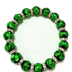 12mm玉使用 グリーンのほたる玉&ロンデル(シルバー)ブレスレット サイズ16cm/18cm/20cm ほたる石、ほたるガラス、ほたる玉、ホタルガ awamori-zizake