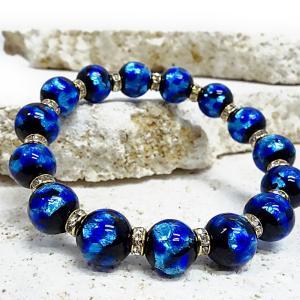 送料無料! 暗闇で光るホタルガラス10mm&ロンデルブレスレット(サイズ14,16、18、20cm) ほたるガラス、ほたる石、ほたる玉 awamori-zizake