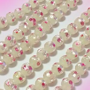 定型外郵便送料無料 ホワイト×パールピンクのホタル玉(10mm) 5個セット[ほたるガラス、ほたる石]|awamori-zizake