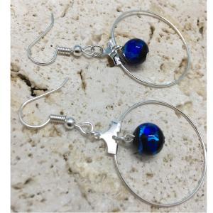 暗闇で光るホタルガラス(8mm使用)&リングのフック式ピアス アクセサリー ピアス ファッション ジュエリー  知的 上品 プレゼント ハンドメイド 手作り とん|awamori-zizake