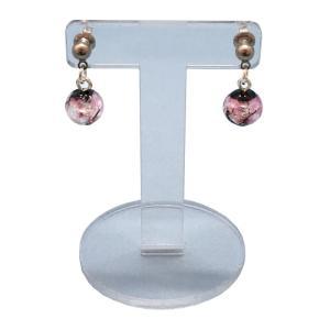 光るピンクのほたる10mmプチピアス  アクセサリー ピアス ファッション ジュエリー  知的 上品 プレゼント ハンドメイド 手作り とんぼ玉 ほたるガラス ほたる awamori-zizake 02
