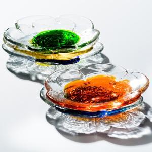 フラワーディッシュ 5色 グラス  琉球ガラス  沖縄ギフト  沖縄お土産|awamori-zizake