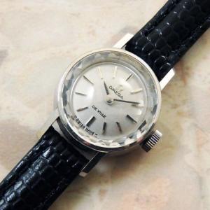 OMEGA/オメガ 18金無垢/18KWG レディース時計 カットガラス シルバーダイヤル 手巻き 1970年式 アンティーク:]