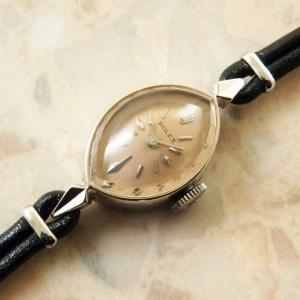 ROLEX(ロレックス) レディース アーモンド ホワイトゴールド アンティーク 14KWG 金無垢 カットガラス 時計:]
