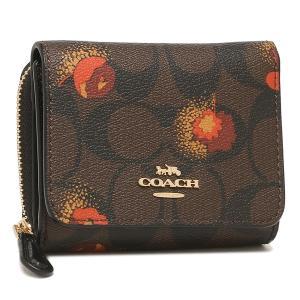 【返品OK】コーチ アウトレット 三つ折り財布 シグネチャー 花柄 ブラウン レッド レディース COACH C6042 IMOSN|axes
