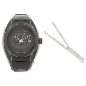 「P5%還元 9/19 20時〜24時」グッチ ギフトセット メンズ 時計 ネックレス アクセサリー  クォーツ ブラック シルバー GUCCI YA137107A 225055 J84008106|axes