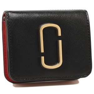 【返品OK】マークジェイコブス 二つ折り財布 スナップショット ミニ財布 ブラック ブラウン レッド レディース MARC JACOBS S112L01PF21 014|axes