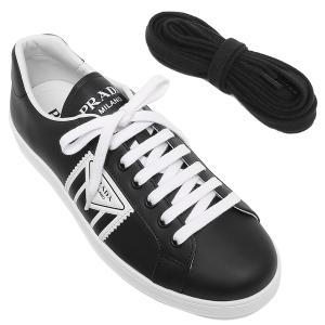 プラダ スニーカー 靴 ヴィテロソフト トライアングルロゴ ブラック ホワイト メンズ PRADA 4E3544 3L8U F0967|axes