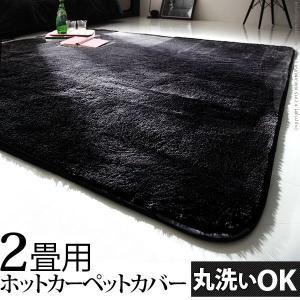 漆黒のホットカーペットカバー ジェッタ(モリス) 2畳用 (186x186cm) 洗える ラグ|axisnet