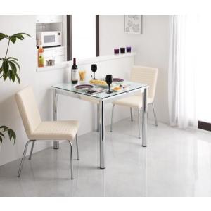 ガラス デザイン ダイニング De modera ディ・モデラ 3点セット テーブル W80 + チェア 2脚 ホワイト ダイニング3点セット 2人用ダイニングセット 2人掛け|axisnet