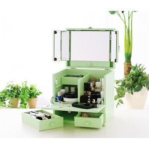 ドレッサー 三面鏡 メイクボックス ミントグリーン メークボックス コスメケース コスメボックス 収納ボックス ボックス コスメ収納 小物収納 化粧ボックス|axisnet