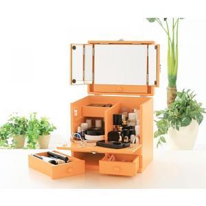 ドレッサー 三面鏡 メイクボックス ナチュラルオレンジ メークボックス コスメケース コスメボックス 収納ボックス ボックス コスメ収納 小物収納 収納|axisnet