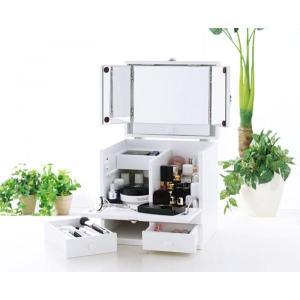 ドレッサー 三面鏡 メイクボックス ピュアホワイト メークボックス コスメケース コスメボックス 収納ボックス ボックス コスメ収納 小物収納 収納 ボックス|axisnet