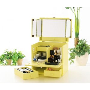 ドレッサー 三面鏡 メイクボックス クリーミーイエロー メークボックス コスメケース コスメボックス 収納ボックス ボックス コスメ収納 小物収納 収納|axisnet