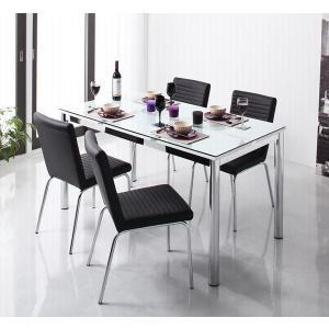 ガラス デザイン ダイニング De modera ディ・モデラ 5点セット テーブル 130 + チェア 4脚 ブラック ダイニング5点セット 4人用ダイニングセット 4人掛け|axisnet