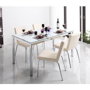 ガラス デザイン ダイニング De modera ディ・モデラ 5点セット テーブル 150 + チェア 4脚 ホワイト ダイニング5点セット 4人用ダイニングセット 4人掛け|axisnet