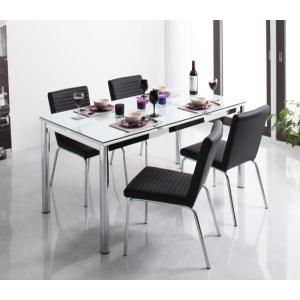 ガラス デザイン ダイニング De modera ディ・モデラ 5点セット テーブル 150 + チェア 4脚 ブラック ダイニング5点セット 4人用ダイニングセット 4人掛け|axisnet