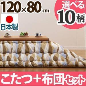 こたつテーブル 長方形 日本製 こたつ布団 セット 4段階高さ調節折れ脚こたつ カクタス 120×80cm axisnet