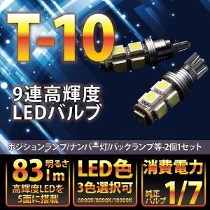大型アルミヒートシンク搭載!新型T10/T16ウェッジ9連高輝度3チップLED 2個1セットポジションランプ/バックランプ!(メール便発送) (S)|axisparts