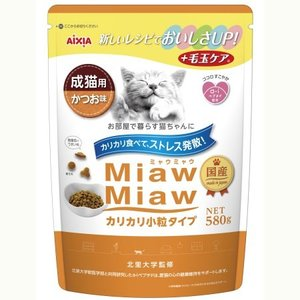 MiawMiawカリカリ小粒タイプ かつお味 580g|ayahadio
